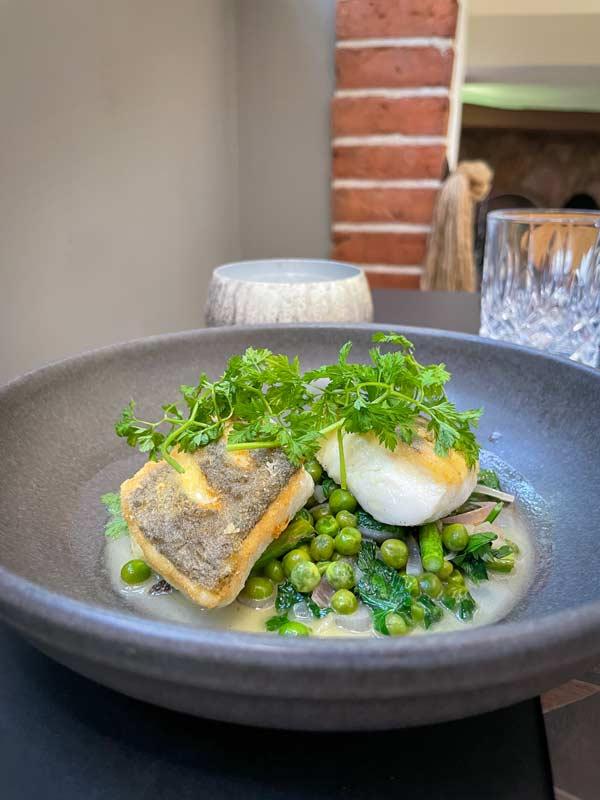 Stegt kulmule med ærter, urter og skalotteløg – restaurant i Odense
